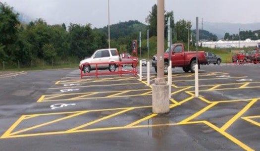 toughline traffic paint parking lot
