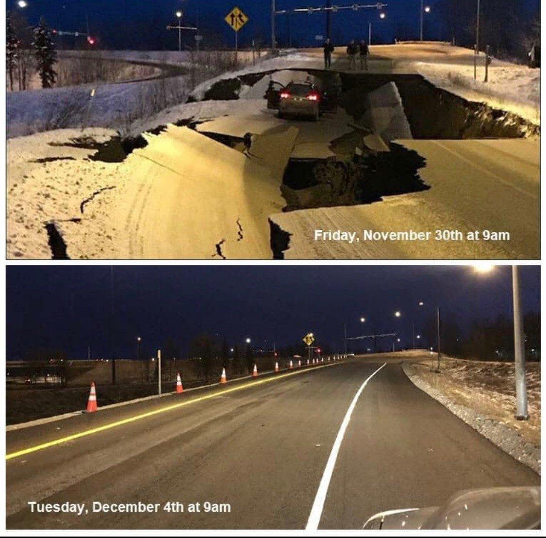 alaska earthquake road repair